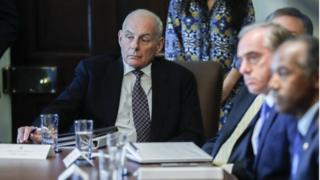 General John Kelly sits during a meeting in Washington, DC.