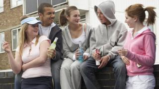 Teenagers smoking and drinking