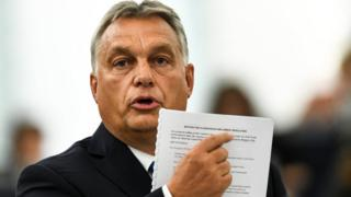 Hungary's Prime Minister Viktor Orban addresses the European Parliament. 11 Sept 2018