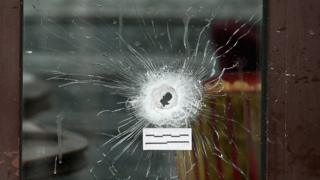 Bullet hole from the Paris attacks of 13 November 2015