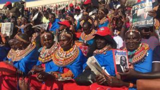 Mourners at the Nyayo National Stadium