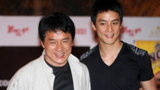 Jackie Chan (L) and Daniel Wu (R) attend a press conference in Kuala Lumpur on 31 March 2009 to promote their film Shinjuku Incident