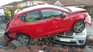 Red Seat on top of BMW