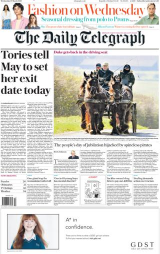 Daily Telegraph front page, 27/3/19
