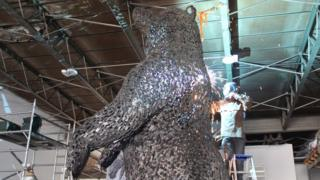 Andy Scott working on the bear sculpture