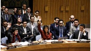 El embajador de Bolivia ante Naciones Unidas observa a sus colegas de EE.UU. y Reino Unido votar a favor de una moción presentada ante el Consejo de Seguridad.