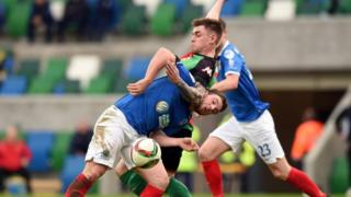 A flare was let off at the Irish Premiership game between Linfield and Glentoran on Saturday afternoon