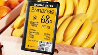 Bananas on sale with an electronic price tag