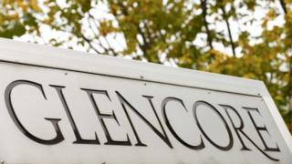 A Glencore sign at its headquarters