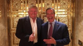 Donald Trump na mtu aliyeongoza vuguvugu la Brexit Nigel farage wakutana