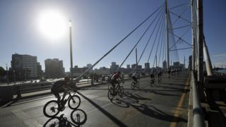 in_pictures Cyclists seen in Johannesburg riding over the Mandela Bridge in Johannesburg, South Africa - Sunday 17 November 2019