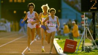Zola Budd competing during the 3,000 metres in the 1984 Olympics