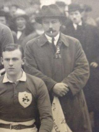 Frank Browning, seen here smoking a cigarette, was president of the Irish Rugby Football Union and captained the Ireland cricket team 13 times
