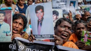 Protesters at a march through Killinochchi, Sri Lanka, in February 2019.
