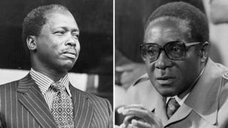 Composite picture of Daniel arap Moi and Robert Mugabe