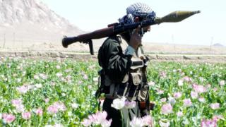 An Afghan soldier with a rocket launcher in Kandahar Province, Afghanistan