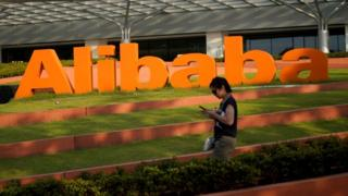 Technology Alibaba's logo at the company's headquarters in Hangzhou, Zhejiang province.