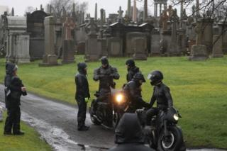 Batman being filmed at the Necropolis