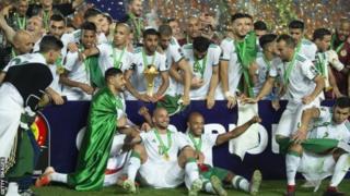 Les Fennecs d'Algérie vainqueurs de la CAN 2019 en Egypte.