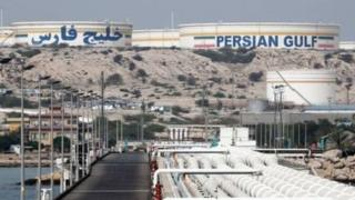 An Iranian oil facility on Khark Island, on the shore of the Persian Gulf