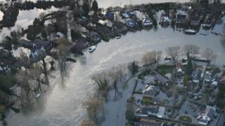 Flooding in the Surrey town of Walton in 2014 after the River Thames broke its banks