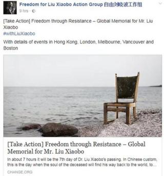A Facebook post from the Freedom for Liu Xiaobo Action Group shows a chair on the seashore and links to a post with details of memorial events around the world.