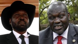 South Sudan's president, Salva Kiir, and rebel leader Riek Machar
