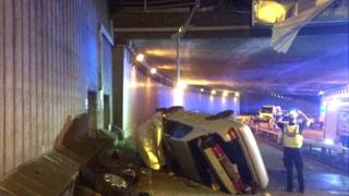 Crash scene at Hagley Road West/Quinton Expressway, Birmingham