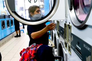 At the laundromat
