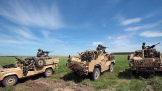 UK troops on exercise on Salisbury Plain