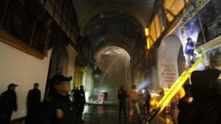 The interior of a fire-damaged church in Peru