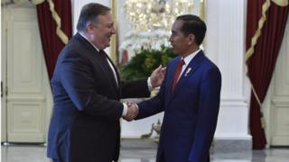 Presiden Joko Widodo bertemu dengan Menlu AS Mike Pompeo di Istana Merdeka pada Minggu (05/08).