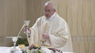 Pope Francis at Domus Sanctae Marthae, where he lives in the Vatican, 24 April