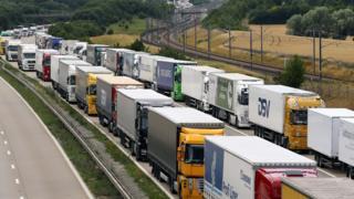 Trucks queuing