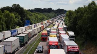 Lorries parked on the M20 in 2015 under the Operation Stack system