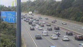 Traffic on the M4 at junction 23 westbound