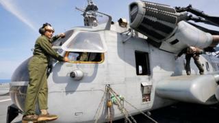Diyaaradda kuwa qumaatiga u kaca ah ee dhibaatadu soo gaartay waa CH-53E (sawirkani waa mid hore)