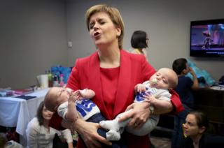First Minister Nicola Sturgeon with 13-week-old twins Catherine and Sam Shepherd.