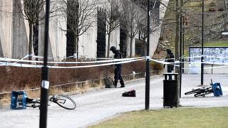 The police has cordoned off and investigates the area outside Varby Gard metro station south of Stockholm