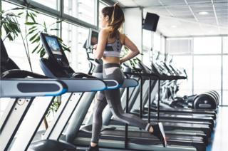 science Woman on treadmill