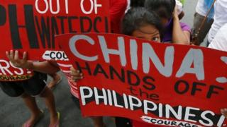 Protest in the Philippines against China's land reclamation in the disputed Spratly islands in the South China Sea 12/11/2015
