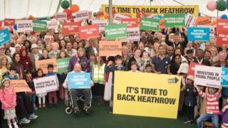 People at Heathrow rally