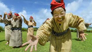 Japoneses na ilha de Okinawa
