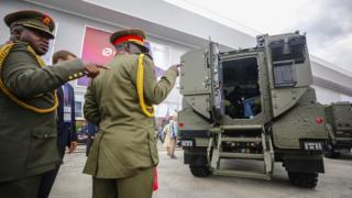 Army officers at Moscow defence show