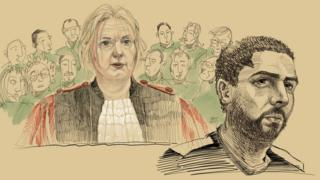 This drawing by Igor Preys shows Chairwoman of the court Laurence Massart and the accused Mehdi Nemmouche during the session of the announce of the culpability verdict