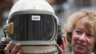 A Mercury capsule helmet and umbilical head