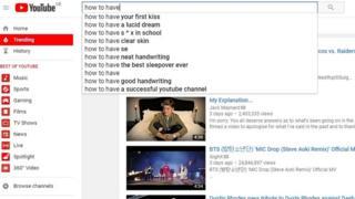 YouTube auto-fill results