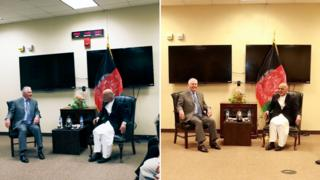 A composite showing Rex Tillerson meeting Ashraf Ghani in photos released by the US and the Afghan government