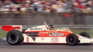 James Hunt winning the British Grand Prix in 1977