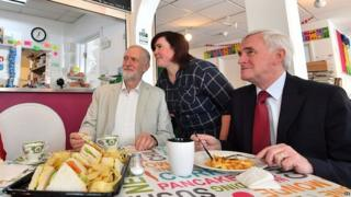 Jeremy Corbyn and John McDonnell on a campaign visit to West Drayton